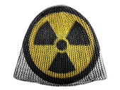 Nuclear radiation symbol painted on painted on cap — Stock Photo