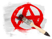 Anarchy symbol painted n painted with brush over it — Stock Photo