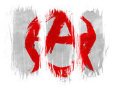 Anarchy symbol painted n painted with 3 vertical brush strokes on white background — Stock Photo