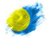 Palau flag painted with brush on white background — Fotografia Stock