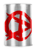 Anarchy symbol painted on shiny tin can — Stock Photo