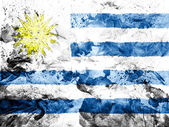 Uruguay flag painted dirty and grungy paper — Stock Photo