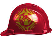 Kyrgyzstan flag painted on safety helmet — Stock Photo