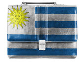 Uruguay flag painted on small briefcaseor leather handbag — Stock Photo