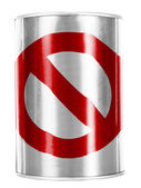 Forbidden sign painted on shiny tin can — Stock Photo