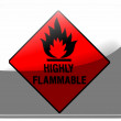 Stock Photo: Highly flammable sign drawn on painted on square interface icon