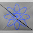 Stock Photo: Atom symbol painted on painted on grey envelope