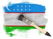 Uzbekistan flag painted with brush over it — Stock Photo