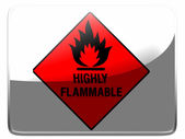 Highly flammable sign drawn on painted on square interface icon — Stock Photo