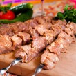 Stock Photo: Raw kebab on wooden board