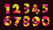 Färgstarka roliga nummer — Stockvektor