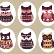 Owl set, cute owls, bird — Stock Vector