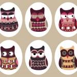 Owl set, cute owls, bird — Stock Vector