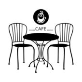 Silhouette cafe sign — Stock Vector