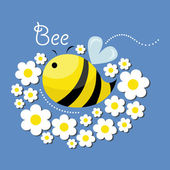 Cute bee and the flowers — Vecteur