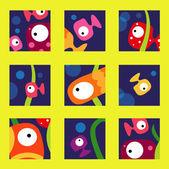 Cute fish collection — Stockvektor