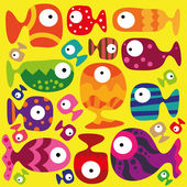 Tropical fish on the yellow background — 图库矢量图片