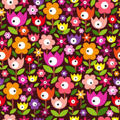 Floral vintage seamless pattern on Dark Background — Stock Vector