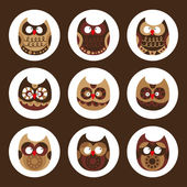 Owl set, cute owls, bird — 图库矢量图片