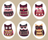 Owl set, cute owls, bird — Vettoriale Stock