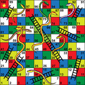 Snakes and Ladders Board Game, Snakes, ladders, start, finish — Stock Vector