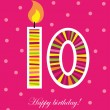 Stock Vector: Tenth birthday with candle