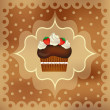 Delicious cupcake with beautiful decoration — Stock Vector