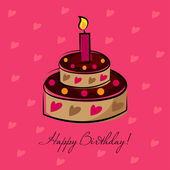 Birthday cake with candle — Stock Vector