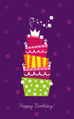 Birthday cake with candles and decorations — Stock Vector