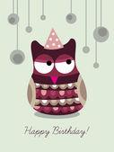 Owl on birthday card — Stock Vector