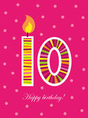 Tenth birthday with candle — Stock Vector