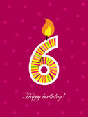 Sixth birthday with candle — Stock Vector