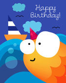 Birthday card with  golden fish — Stock Vector