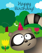 Birthday card with racoon — Stock Vector