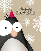 Birthday card with cute penguin — Stock Vector