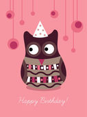 Owl on Birthday card — Stock Vector