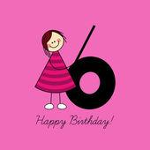 Sixth birthday — Stock Vector