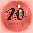 Vintage Happy Birthday card invitation with Number 20 — Stock Vector #42394269