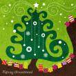Christmas tree with decorations and colorful gifts — Stock Vector