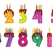 Colorful numeral candles — Stock Vector