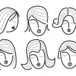Woman faces, hand drawn — Stock Vector