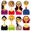 Set of beautiful woman faces — Stock Vector