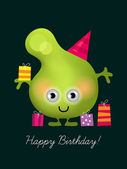 Birthday card, with funny character — Stock Vector