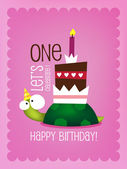 Birthday Card  with Funny Turtle — Stock Vector