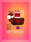 Birthday Card  with Funny Deer — Stock Vector