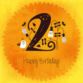 Vintage Happy Birthday card invitation with Number 2 — Stock Vector