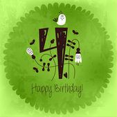 Vintage Happy Birthday card invitation with Number 4 — Stock Vector