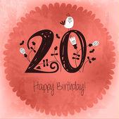 винтаж с днем рождения карты приглашения с номером 20 — Cтоковый вектор