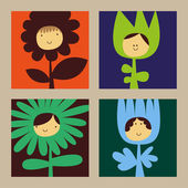Flowers with funny faces — Vector de stock