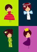 Four happy kids with fancy dresses — Stock Vector